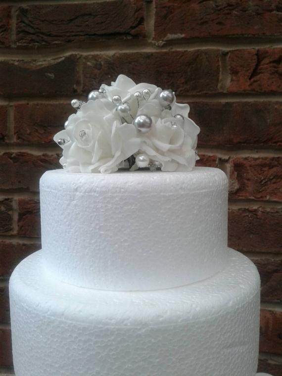 Foam Wedding Cakes  White and silver foam rose cake topper Wedding cake topper