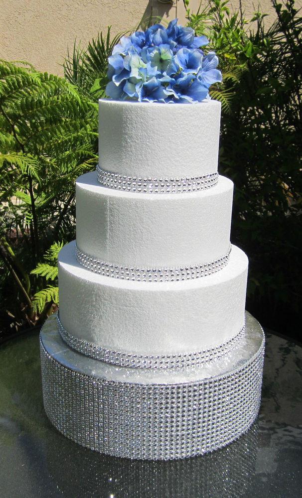 Foam Wedding Cakes  Round Wedding Cake Stand Rhinestone Mesh Foil cake board