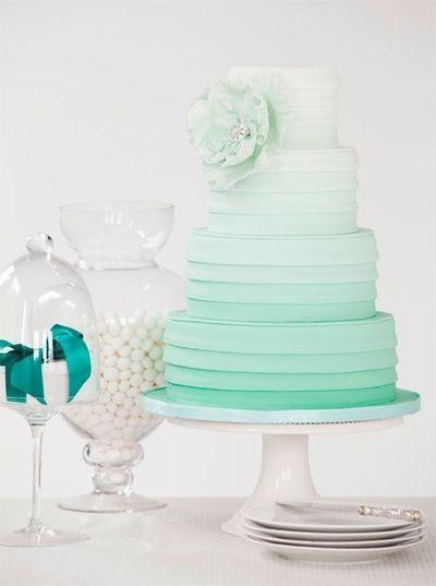 Foam Wedding Cakes  sea foam green ombre wedding cake wedding ideas Juxtapost
