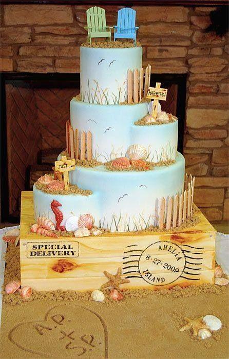 Foam Wedding Cakes  Cute beachy wedding cake We can help achieve this look at