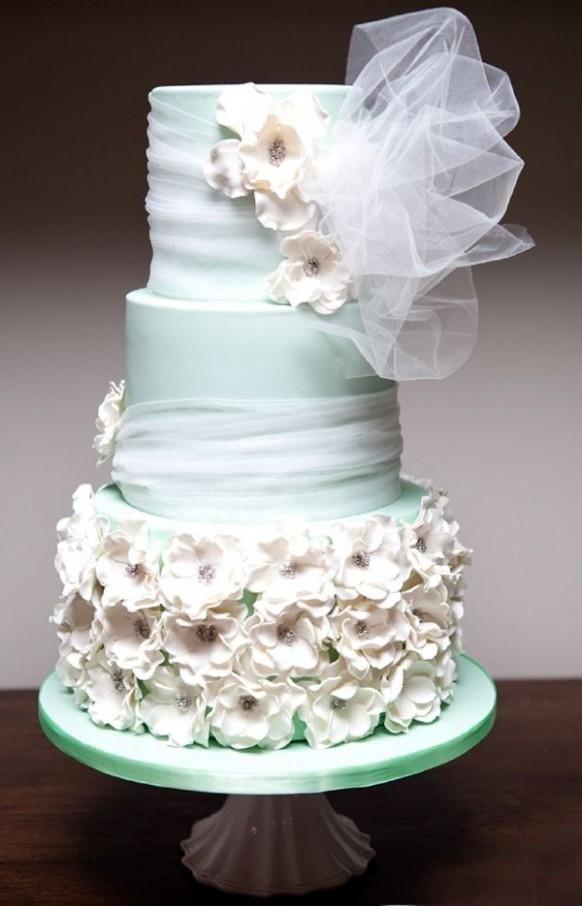 Foam Wedding Cakes  Green Wedding Seafoam Green Wedding Cake Weddbook