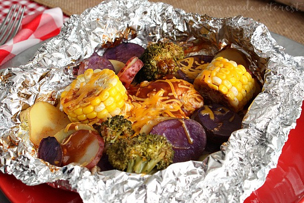 Foil Dinners For Camping  Cheddar BBQ Chicken Foil Packet Meal for a Camping Party