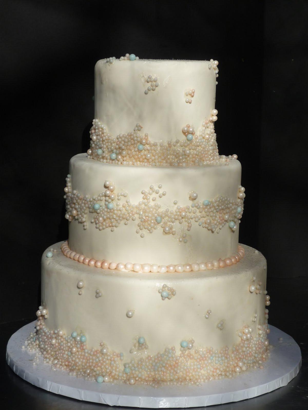Fondant Wedding Cakes  Artisan Bake Shop Wedding Cake Fondant Tiers with Pearls