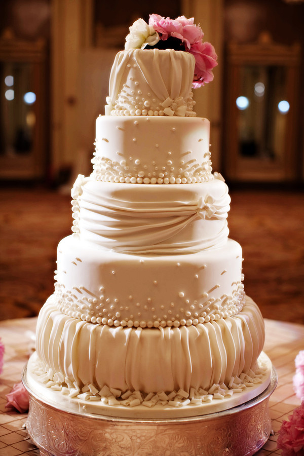 Fondant Wedding Cakes  Ruffled Fondant Wedding Cake Elizabeth Anne Designs The