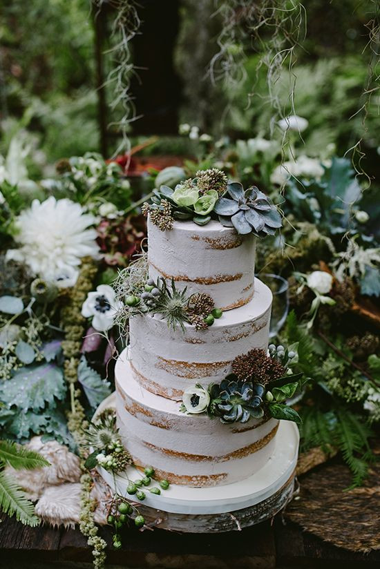 Forest Wedding Cakes  An Elegant Enchanted Forest Wedding Theme Palette