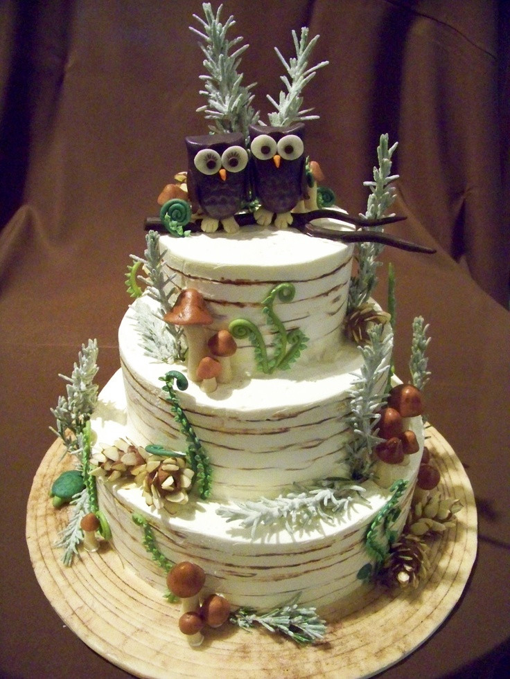 Forest Wedding Cakes  winter forest inspired with owls wedding cake