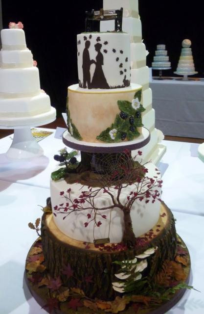 Forest Wedding Cakes  Forest Fall Foliage 4 Tier Cool Wedding Cake with Tree