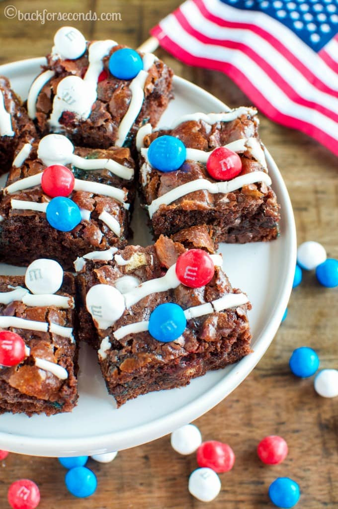 Fourth Of July Brownies  Patriotic Marshmallow Crunch Brownies Back for Seconds