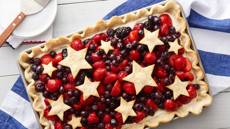 Fourth Of July Pie Recipes  Star Spangled Red White & Blue Slab Pie Recipe