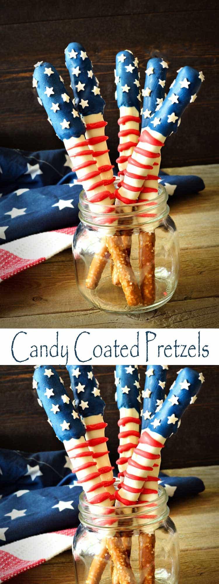 Fourth Of July Pretzels  Patriotic Pretzel Rods Our Take on Candy Coated Pretzel