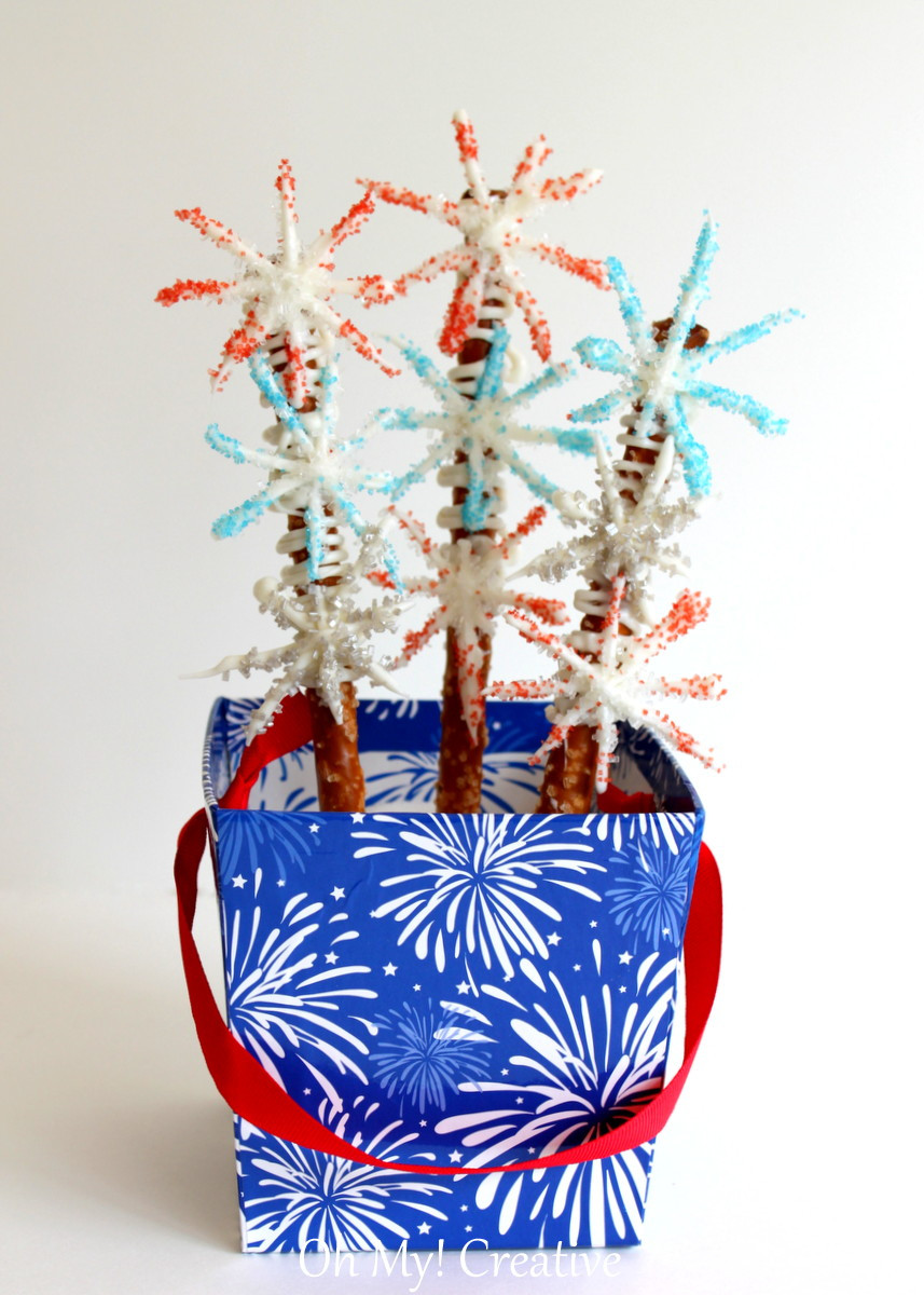 Fourth Of July Pretzels  Fourth of July Firework Chocolate Pretzels Oh My Creative