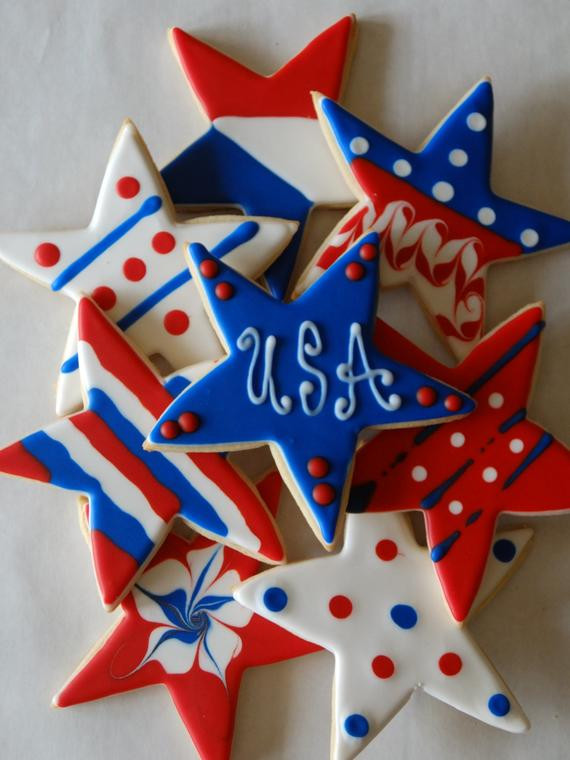 Fourth Of July Sugar Cookies  12 Fourth of July 4th Sugar Cookies with White Ribbon and