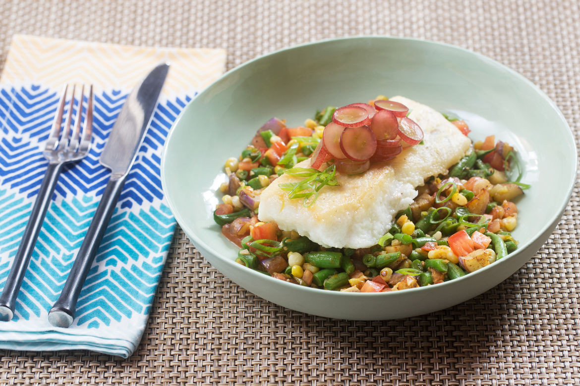 French Summer Recipes  Recipe Seared Cod & Summer Succotash with Fairy Tale