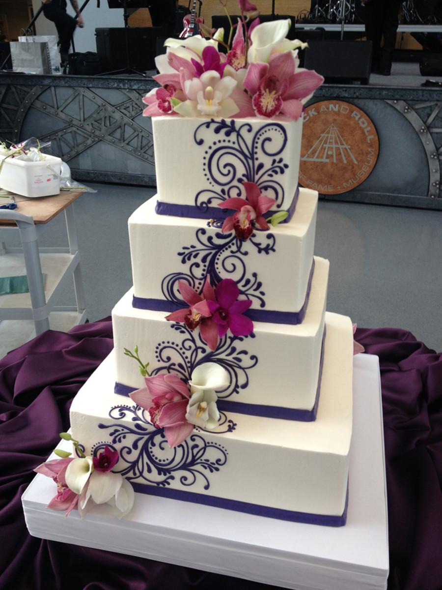Fresh Flowers On Wedding Cakes  Buttercream Wedding Cake With Scrolling And Fresh Flowers