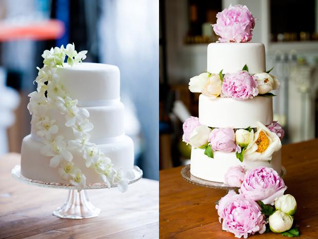 Fresh Flowers On Wedding Cakes  Square Wedding Cake With Fresh Flowers