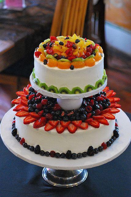 Fruity Wedding Cakes  fresh fruit whip cream wedding cake Pinterest