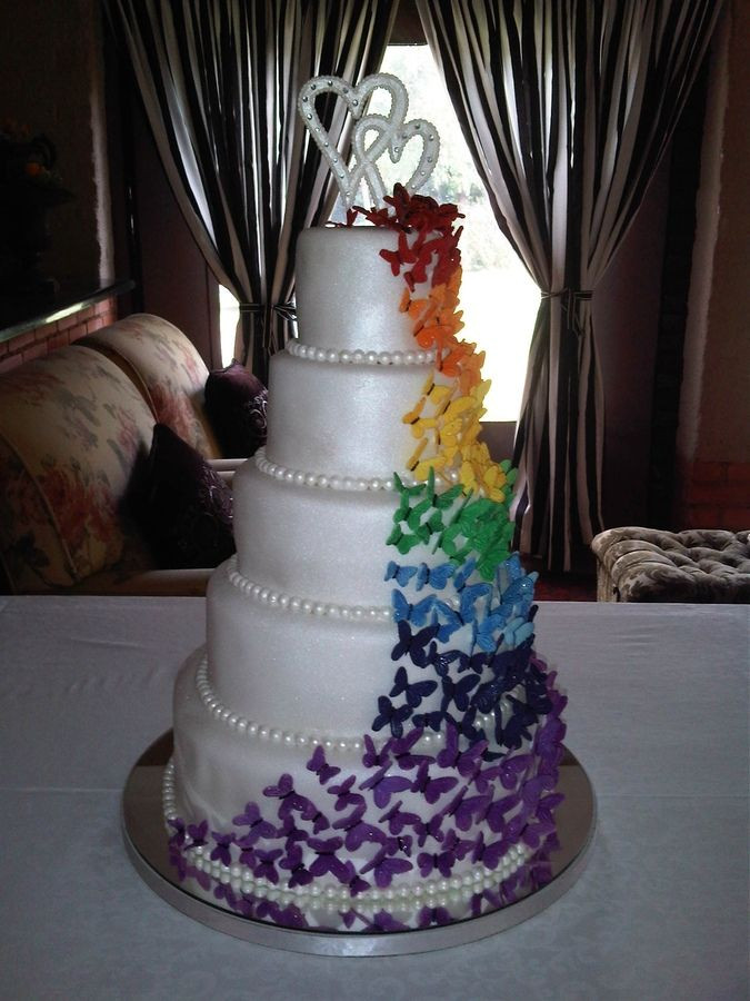Gay Wedding Cakes  17 Best images about Lisa s rainbow cake on Pinterest