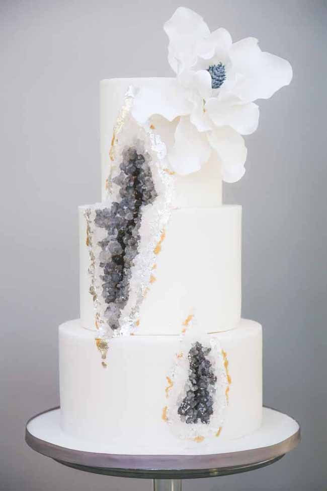 Geode Wedding Cakes  20 Geode & Crystal Wedding Cakes