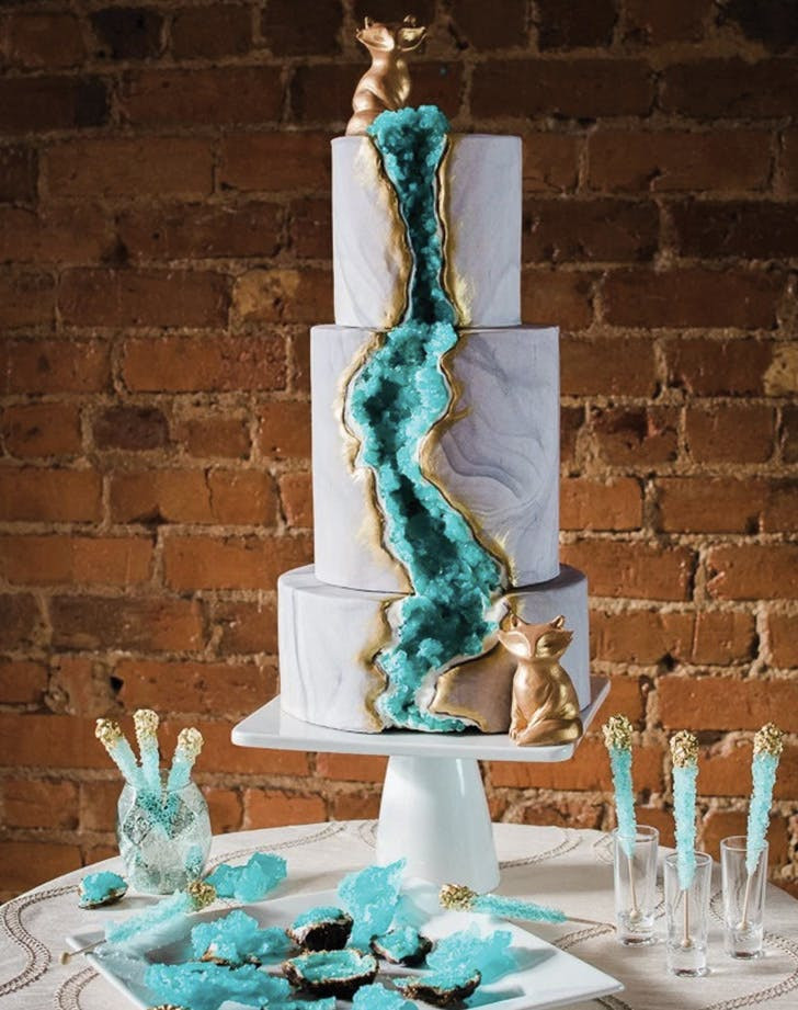 Geode Wedding Cakes  13 Geode Wedding Cake Ideas that are Stunning PureWow