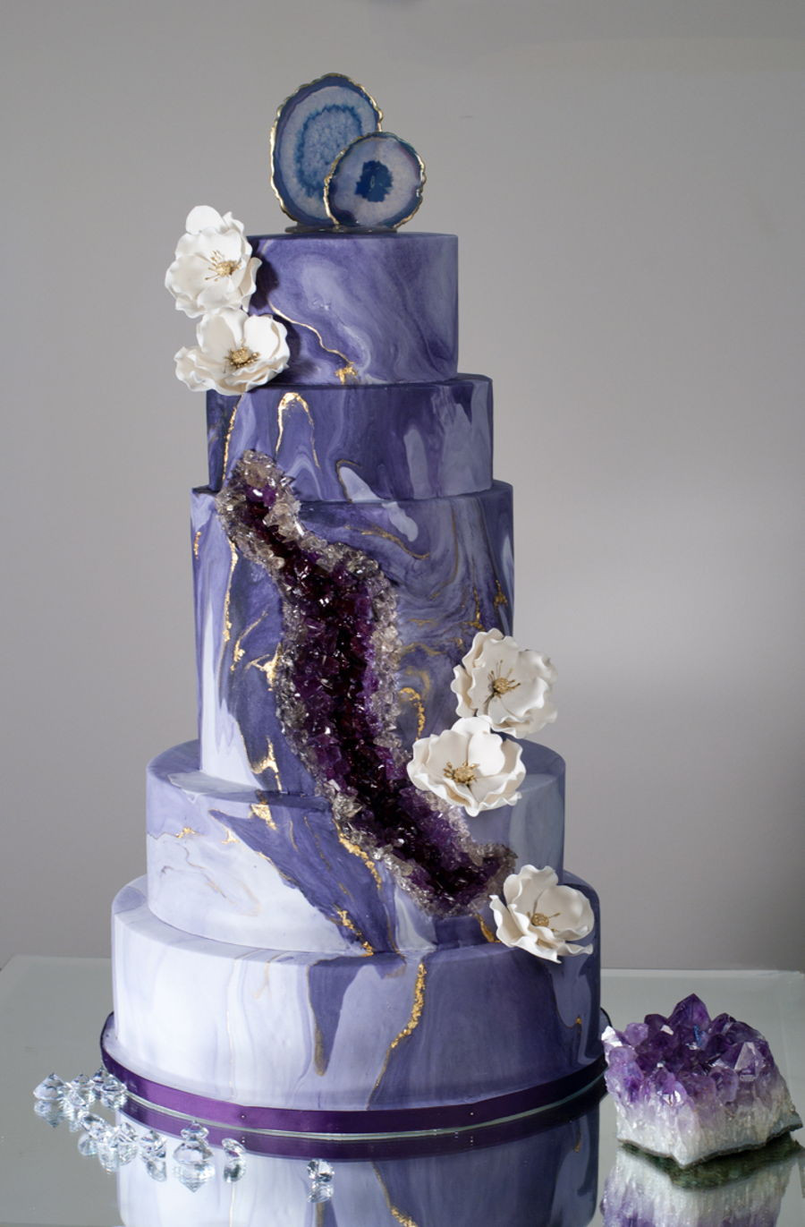 Geode Wedding Cakes  Purple Geode agate Wedding Cake CakeCentral