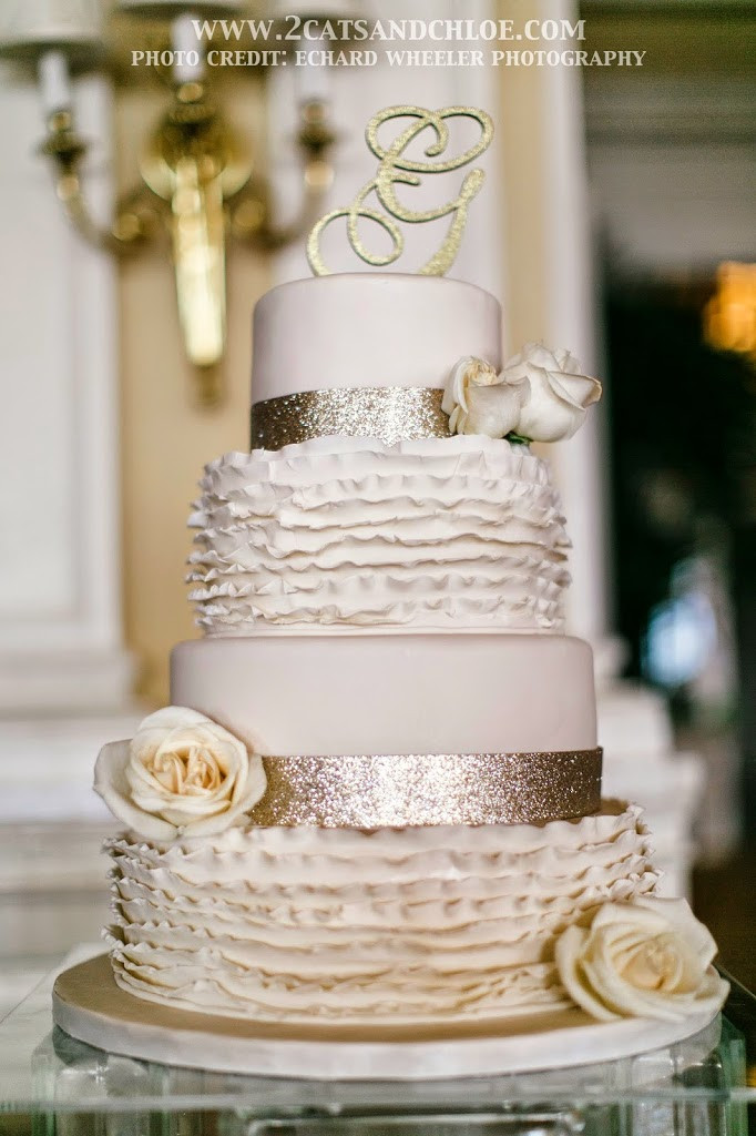 Glam Wedding Cakes  Wedding Details Classic Glam with a Dash of Fun 2 Cats