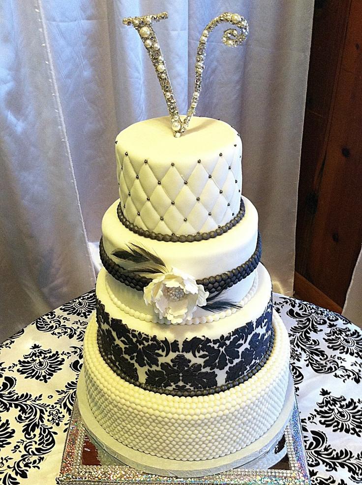 Glamour Wedding Cakes  Hollywood Glam Wedding Cake Black and white love