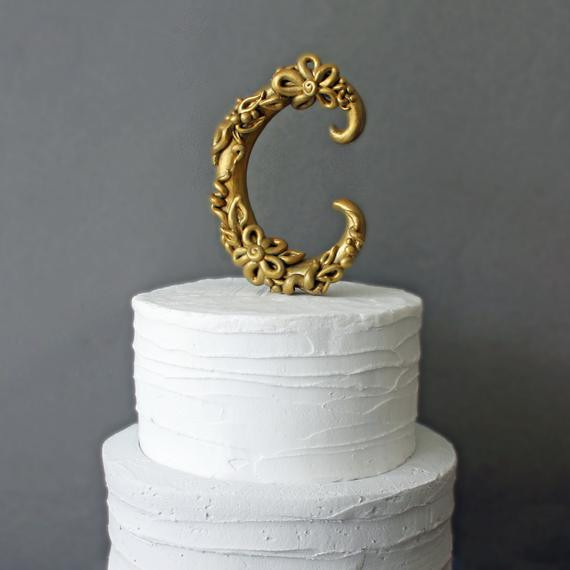 Gold Initial Cake Toppers For Wedding Cakes  301 Moved Permanently
