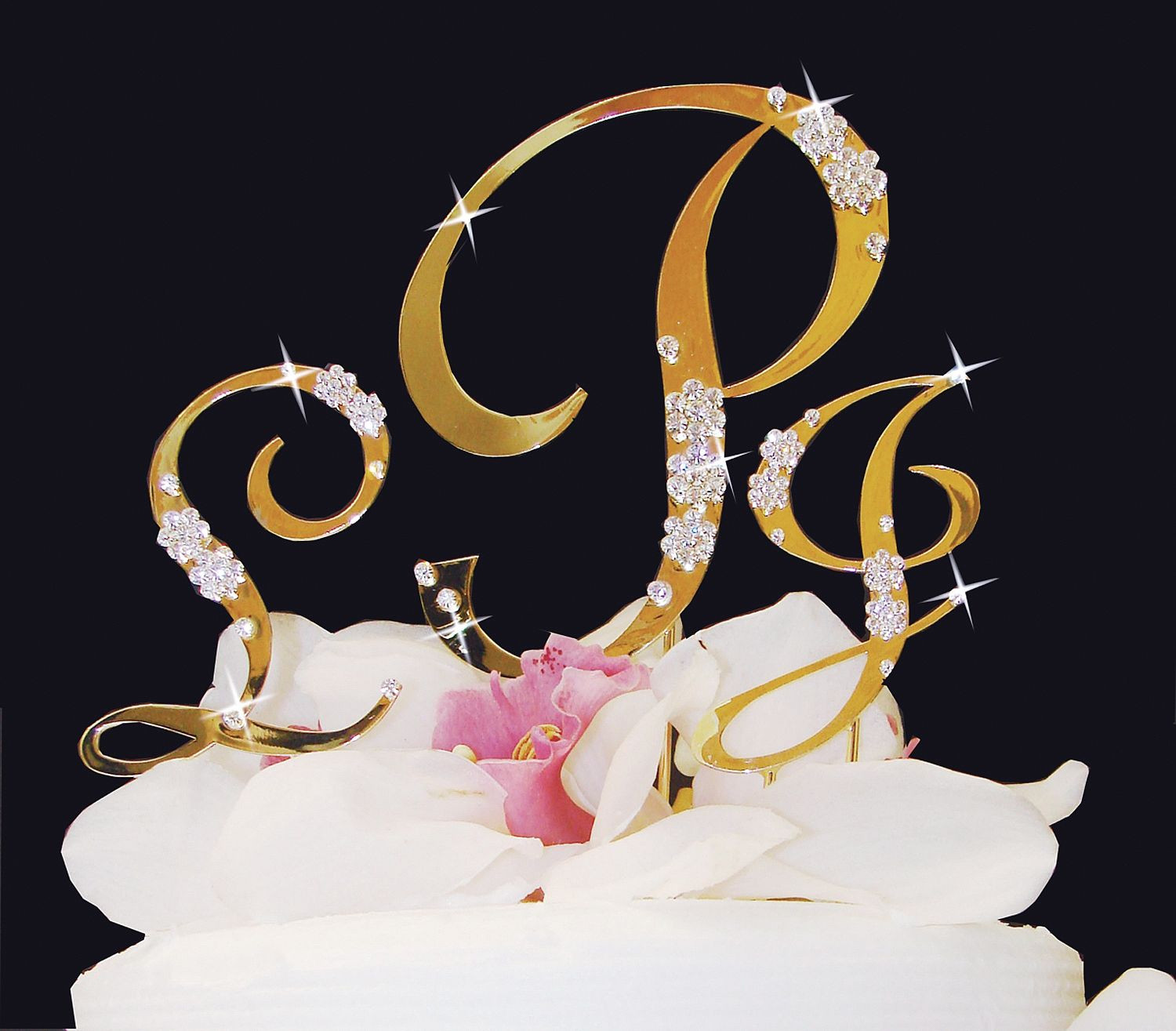 Gold Initial Cake Toppers For Wedding Cakes  Monogram Gold Rhinestone Inital Cake Toppers with