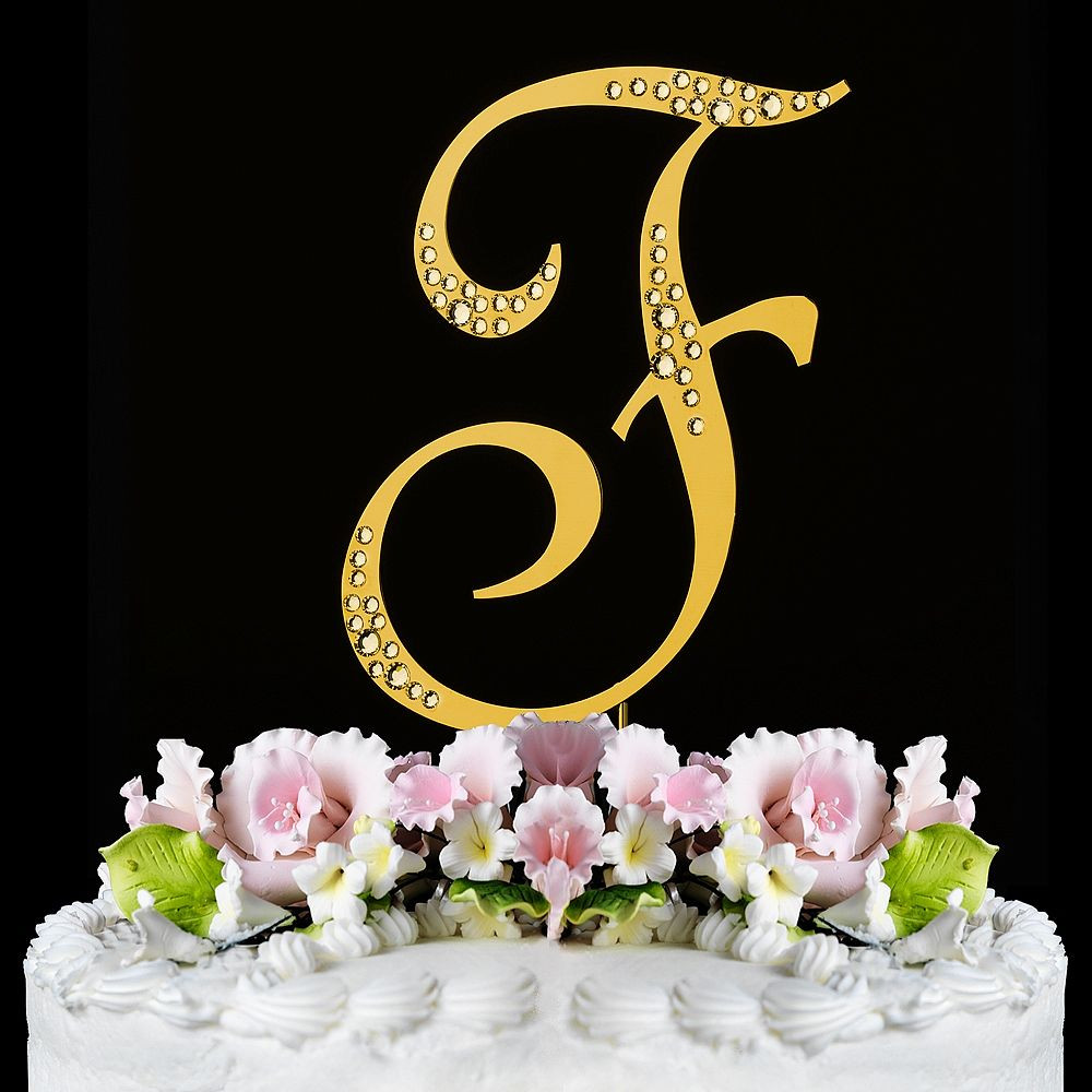 Gold Initial Cake Toppers For Wedding Cakes  Gold Sparkle Monogram Initial Cake Toppers with Swarovski