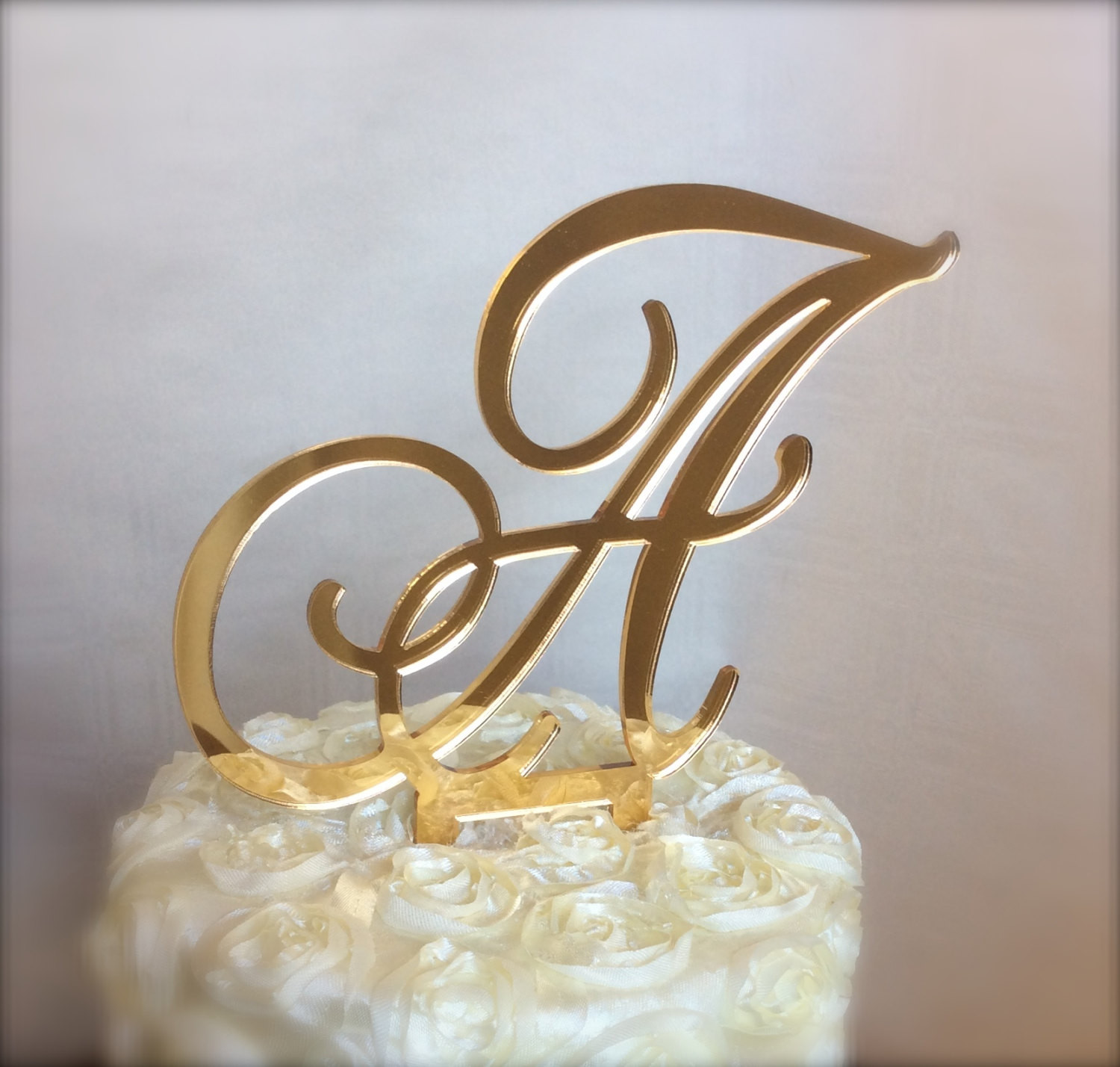 Gold Initial Cake Toppers For Wedding Cakes  gold mirror custom monogram cake topper for weddings