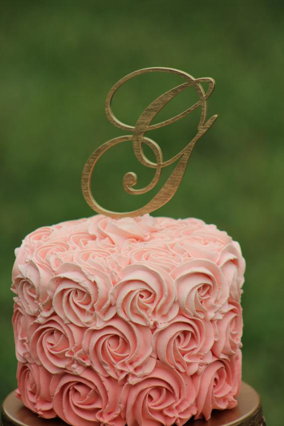 Gold Initial Cake Toppers For Wedding Cakes  Gold Monogram Wedding Cake topper Wooden cake topper