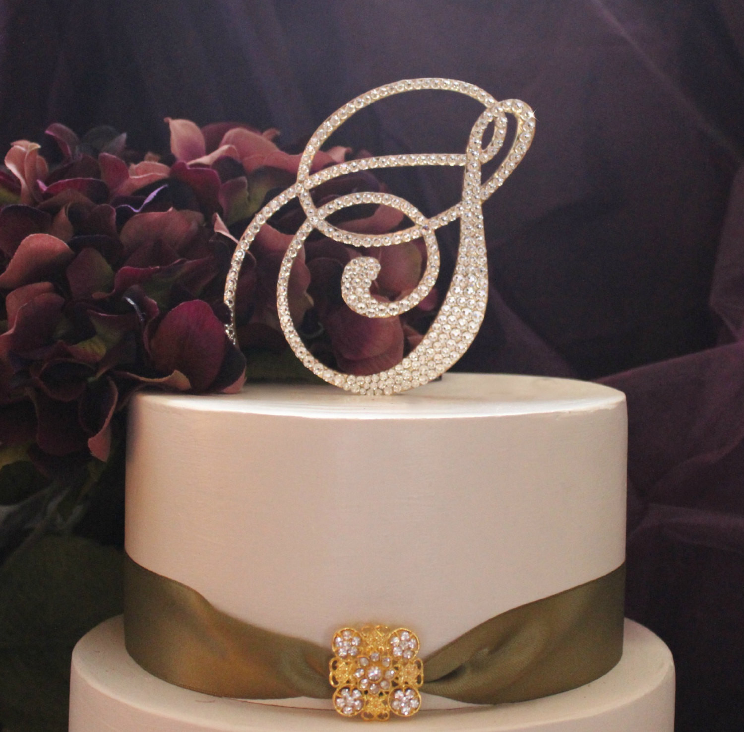 Gold Initial Cake Toppers For Wedding Cakes  Monogram GOLD Wedding Cake Topper Initial in by InitialMoments