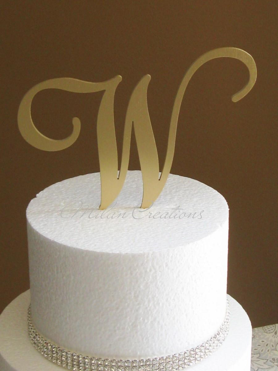 Gold Initial Cake Toppers For Wedding Cakes  Metallic Gold Metal Monogram Cake Topper For Wedding Any