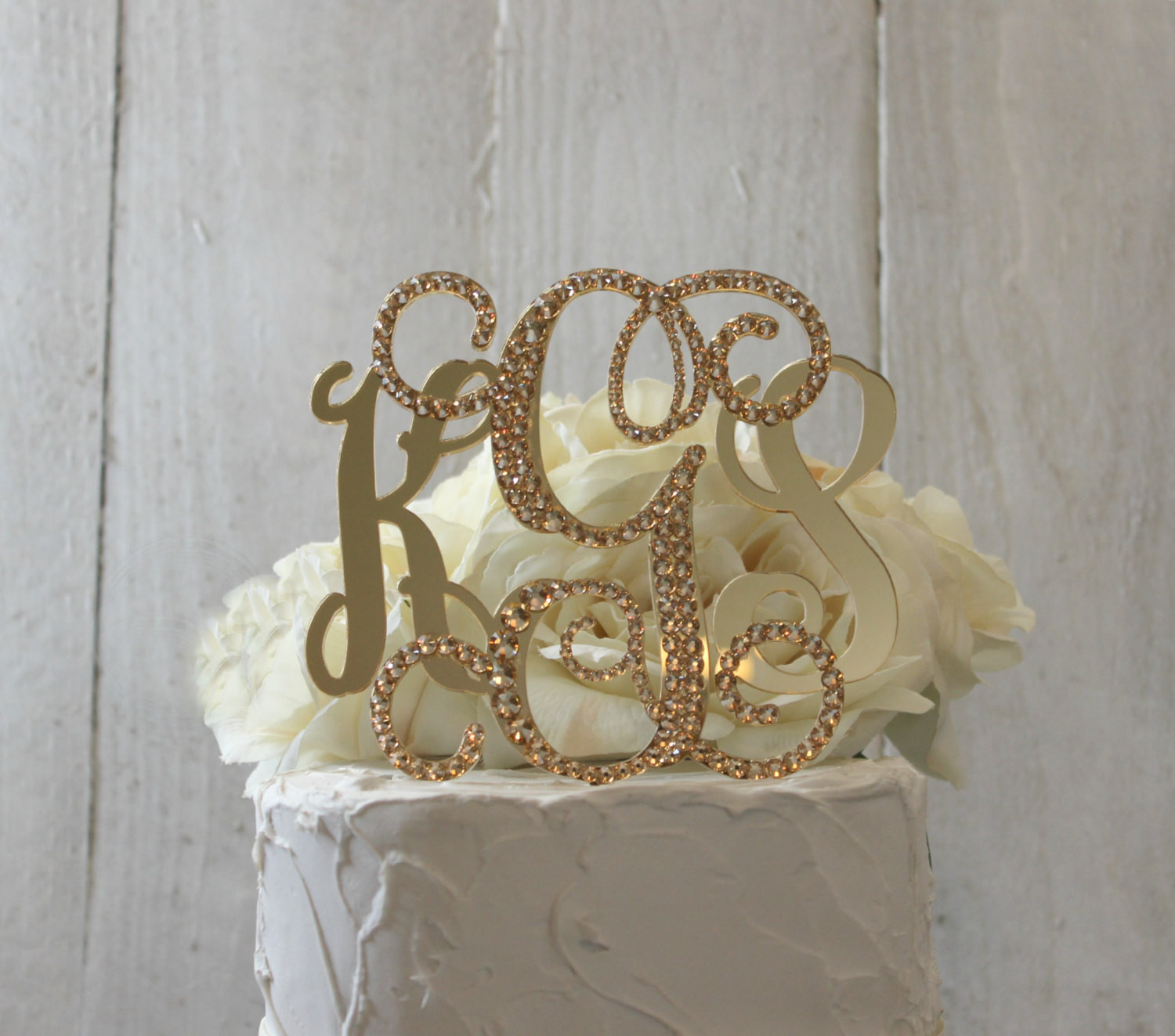 Gold Initial Cake Toppers For Wedding Cakes  Gold 3 Initial Monogram Wedding Cake Topper GOLD Swarovski