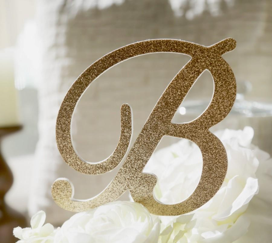 Gold Initial Cake Toppers For Wedding Cakes  Monogram Glitter Cake Topper Gold Monogram Cake Toppers