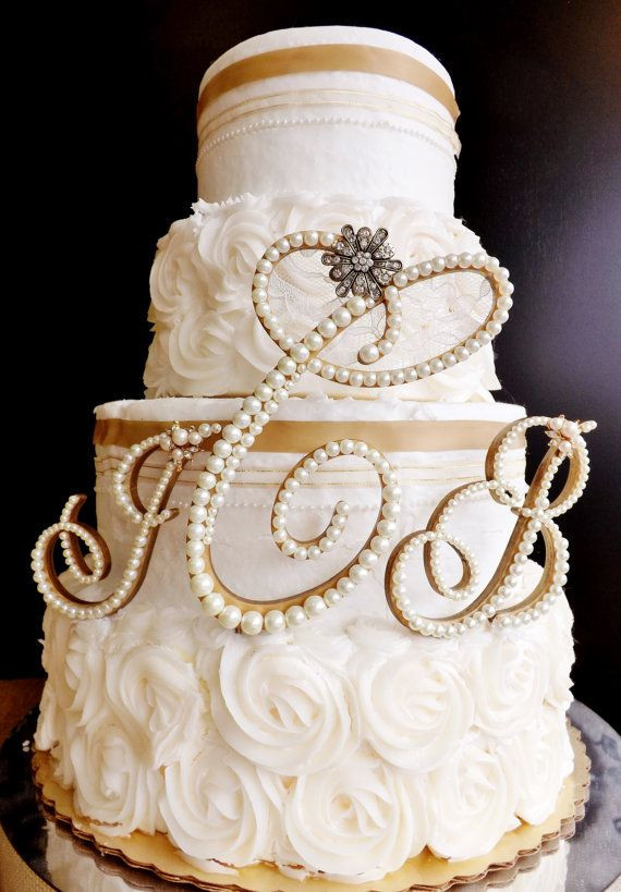 Gold Initial Cake Toppers For Wedding Cakes  Ivory Pearl Wedding Cake Topper 3 Letter Monogram Set