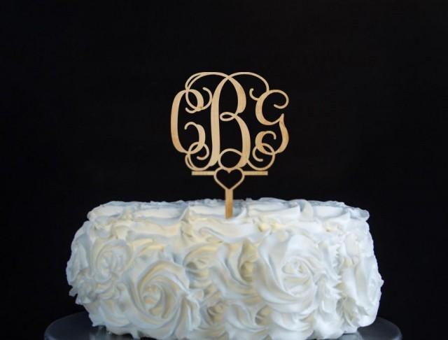 Gold Initial Cake Toppers For Wedding Cakes  Monogram Cake Topper Unpainted Wooden Cake Topper