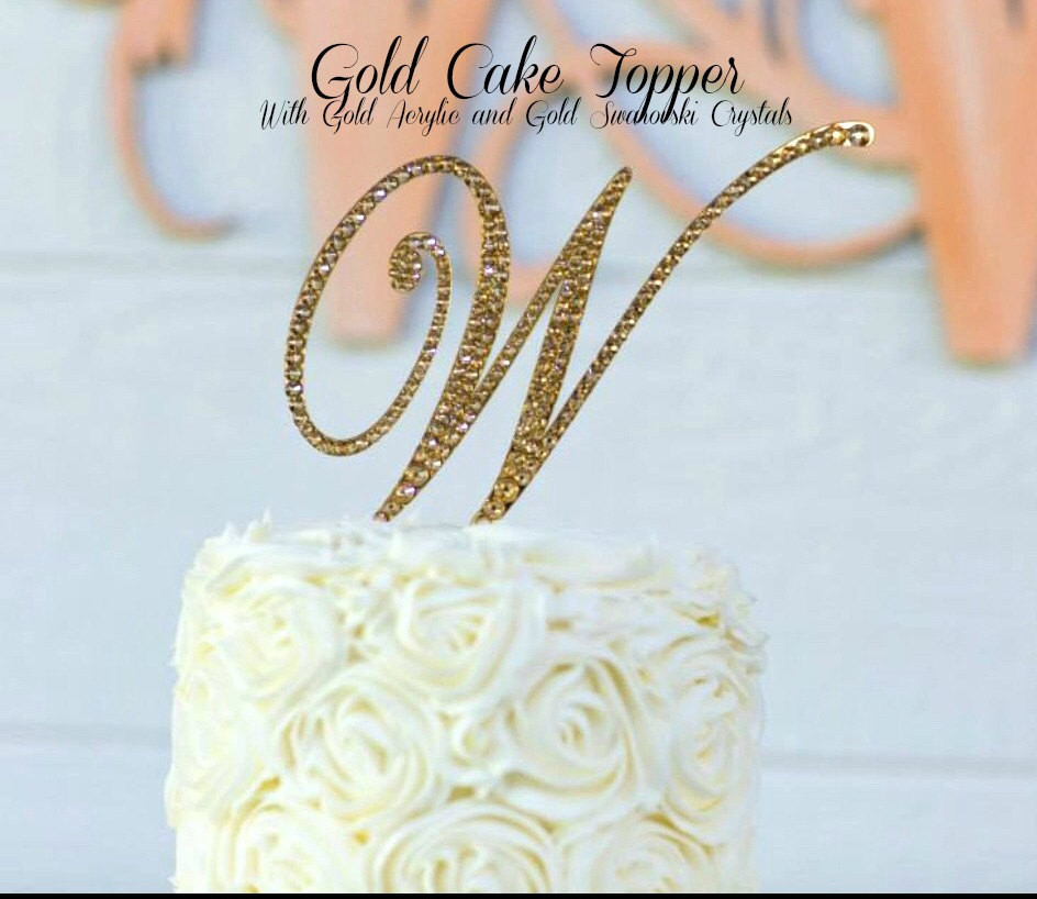Gold Initial Cake Toppers For Wedding Cakes  Gold Wedding Cake Topper Gold Monogram Cake Topper