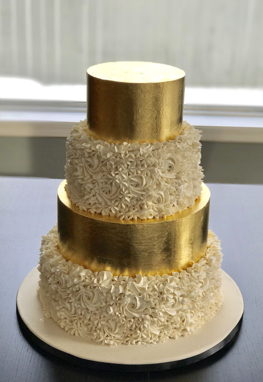Gold Leaf Wedding Cakes  Gold Leaf Wedding Cake CakeCentral
