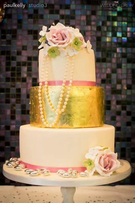 Gold Leaf Wedding Cakes  roses and gold leaf wedding cake cake by
