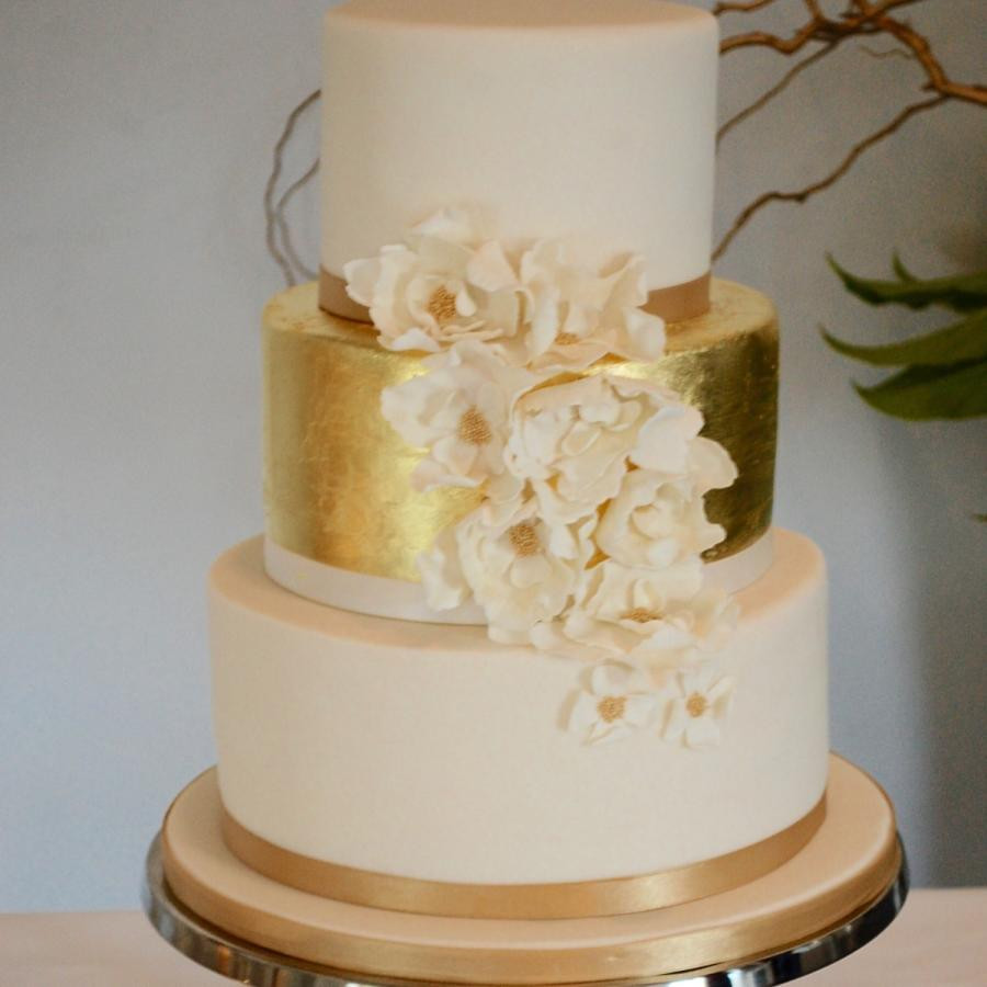 Gold Leaf Wedding Cakes  Gold Leaf Wedding Cake Cake by Claire Davies CakesDecor