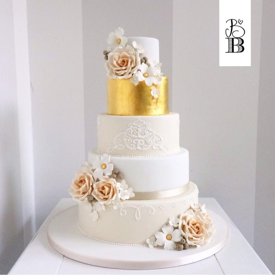 Gold Leaf Wedding Cakes  Gold leaf wedding cake Cake by Bella s Bakery CakesDecor