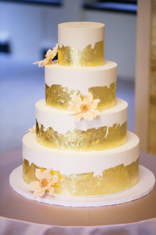 Gold Leaf Wedding Cakes  Gold Leaf and Sugar Flower Wedding Cake