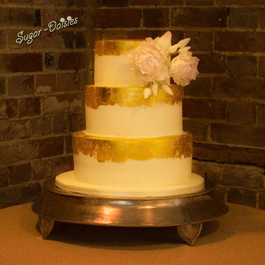Gold Leaf Wedding Cakes  Gold leaf wedding cake cake by Sugar daisies CakesDecor