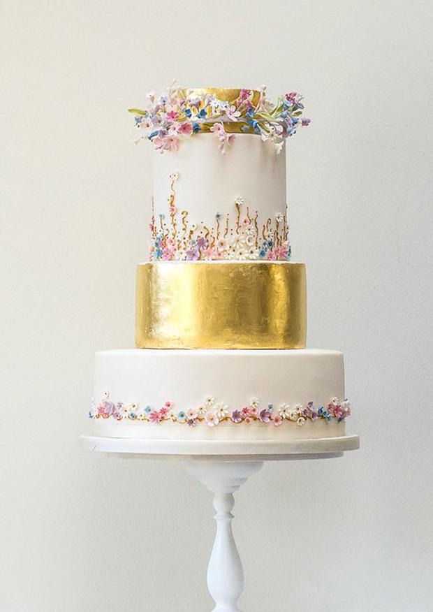 Gold Leaf Wedding Cakes  Metallic Wedding Cakes Wedding Trends