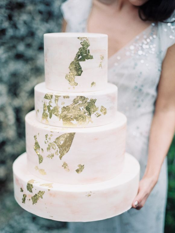 Gold Leaf Wedding Cakes  Rustic Metallic Wedding with Silver and Gold Leaf Accents