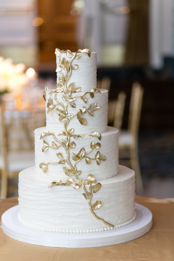 Gold Leaf Wedding Cakes  Wedding Cake with Gold Leaf Elizabeth Anne Designs The