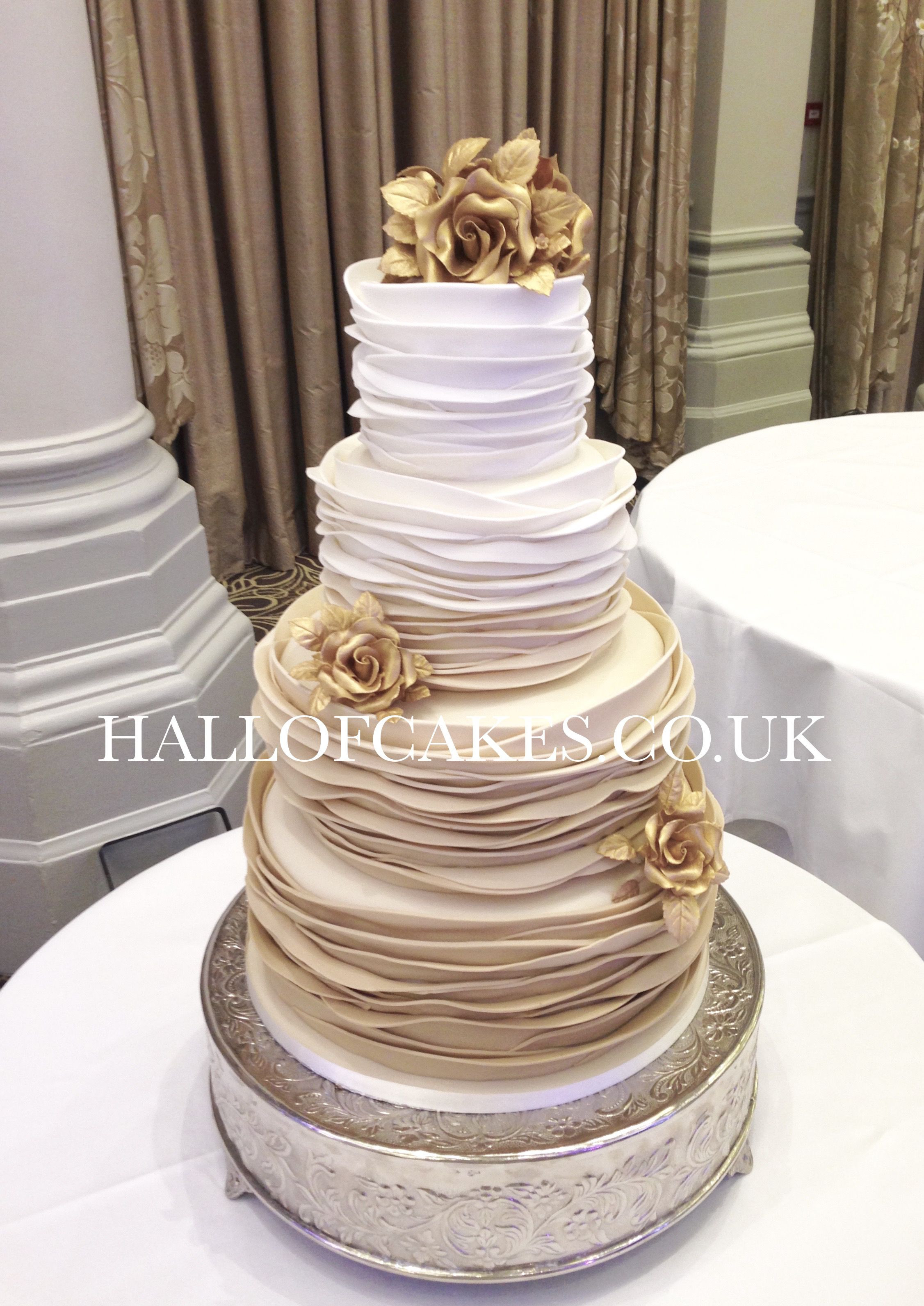 Gold Wedding Cakes  Beautiful Gold Ombre Wedding Cakes by Hall of Cakes