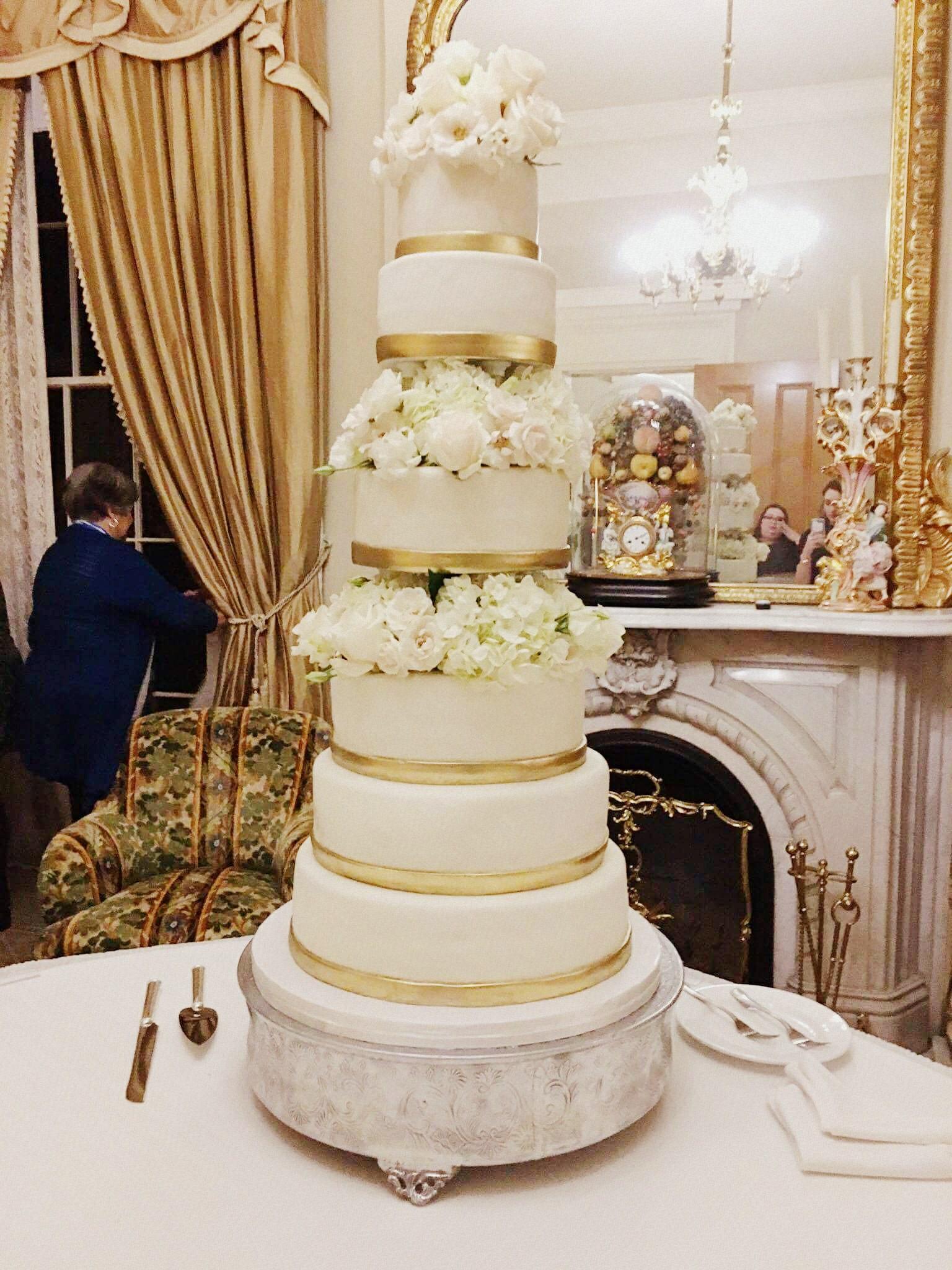 Gold Wedding Cakes  Gold & Flowers Wedding Cake Rose Bakes
