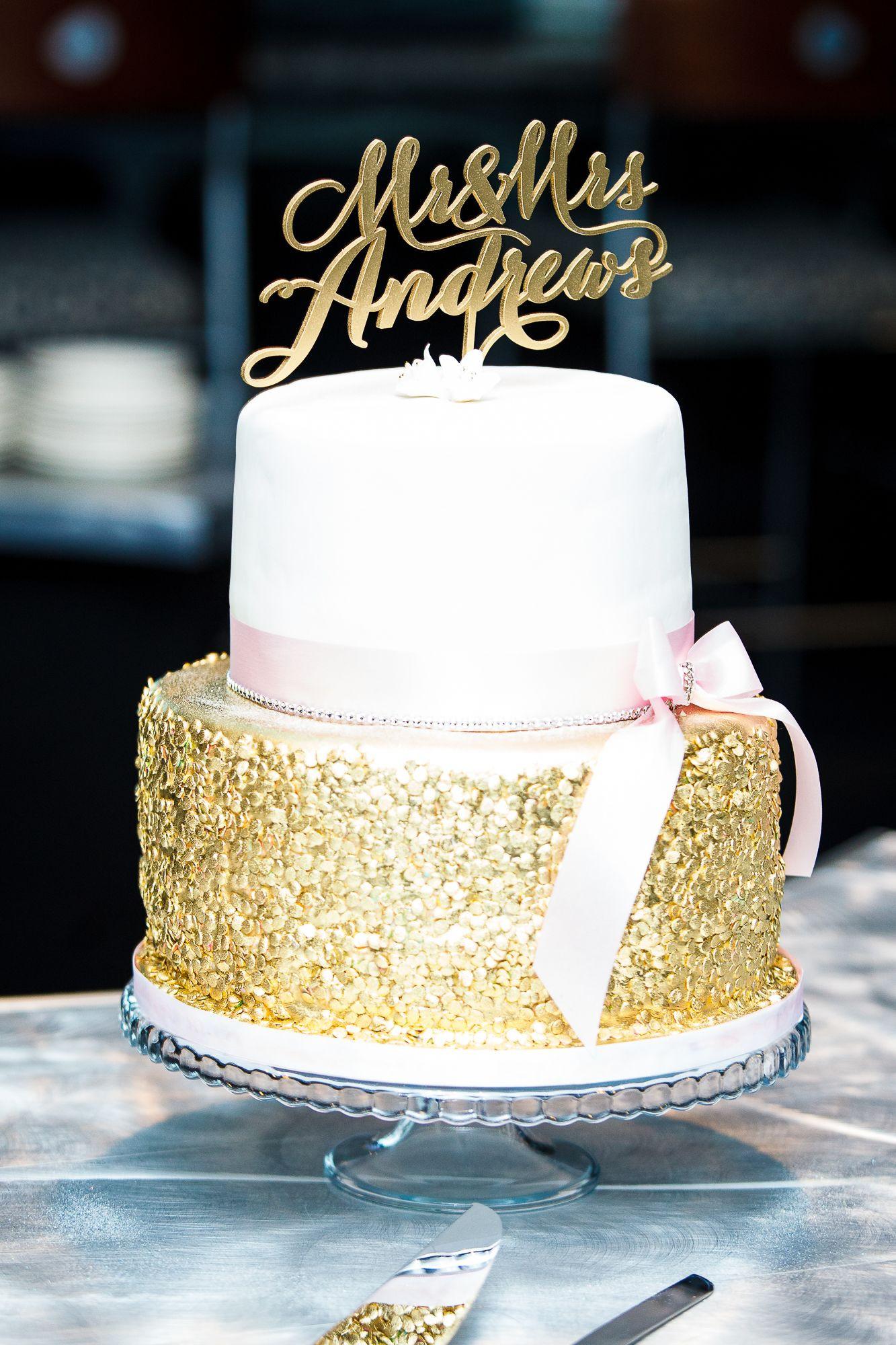 Gold Wedding Cakes  Sparkly Gold and White Wedding Cake